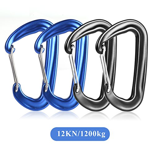 4 Piezas 12KN Mosquetón de Bloqueo de Aleación de Aluminio