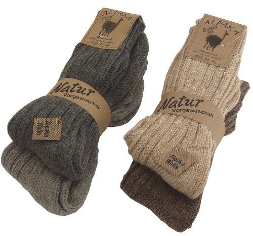 BRUBAKER 4 pares de calcetines de pura lana