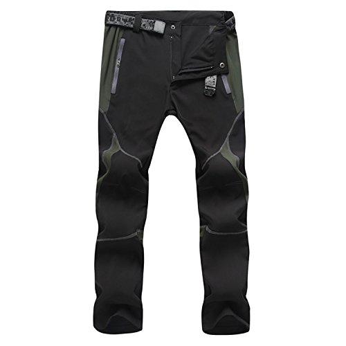 Sukutu SU001 Pantalones deportivos para Hombre, ligeros, impermeables, transpirables, secado rápido, Senderismo, montaña, Cargo, color negro y gris, tamaño XXL